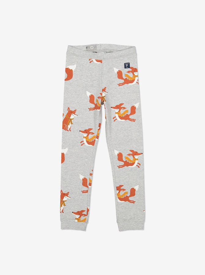 Playful Fox Kids Cuffed Leggings-Unisex-1-8y-Grey