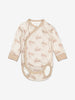 Rabbit Print Wraparound Baby Bodysuit-Unisex-0-6m-Brown
