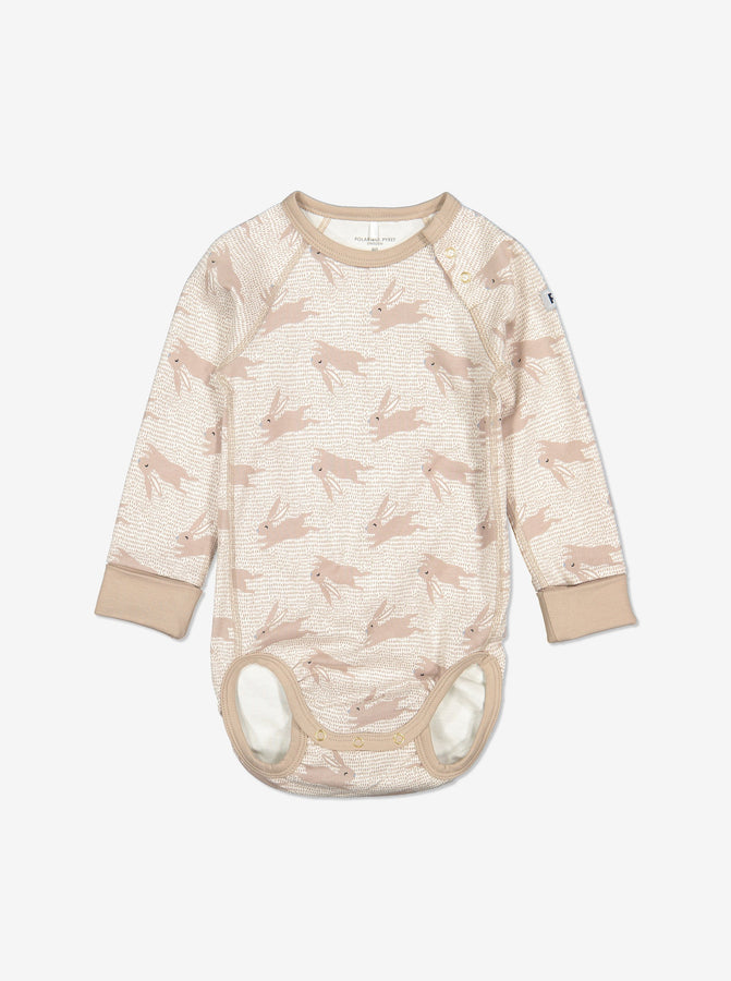 Rabbit Print Baby Bodysuit-Unisex-6m-1y-Brown