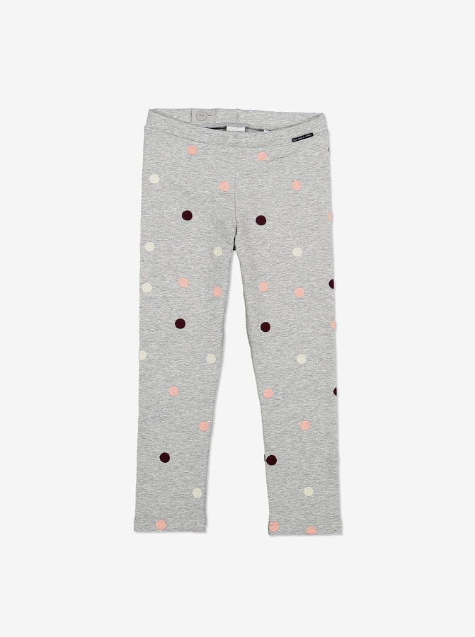 Polka Dot Kids Leggings-Unisex-1-6y-Grey