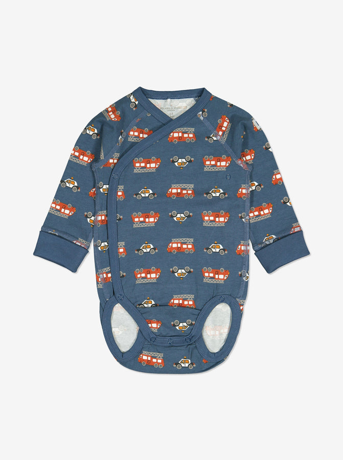 Vehicle Print Wraparound Baby Bodysuit-Unisex-0-6m-Blue