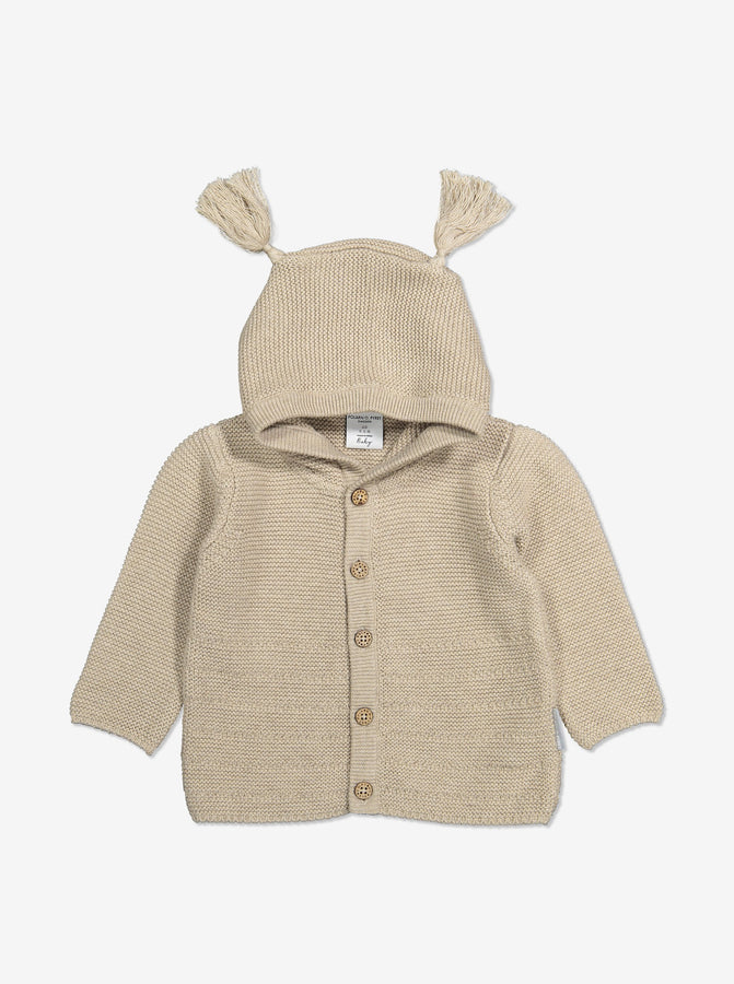 Knitted Baby Hoodie-Unisex-0-1y-White