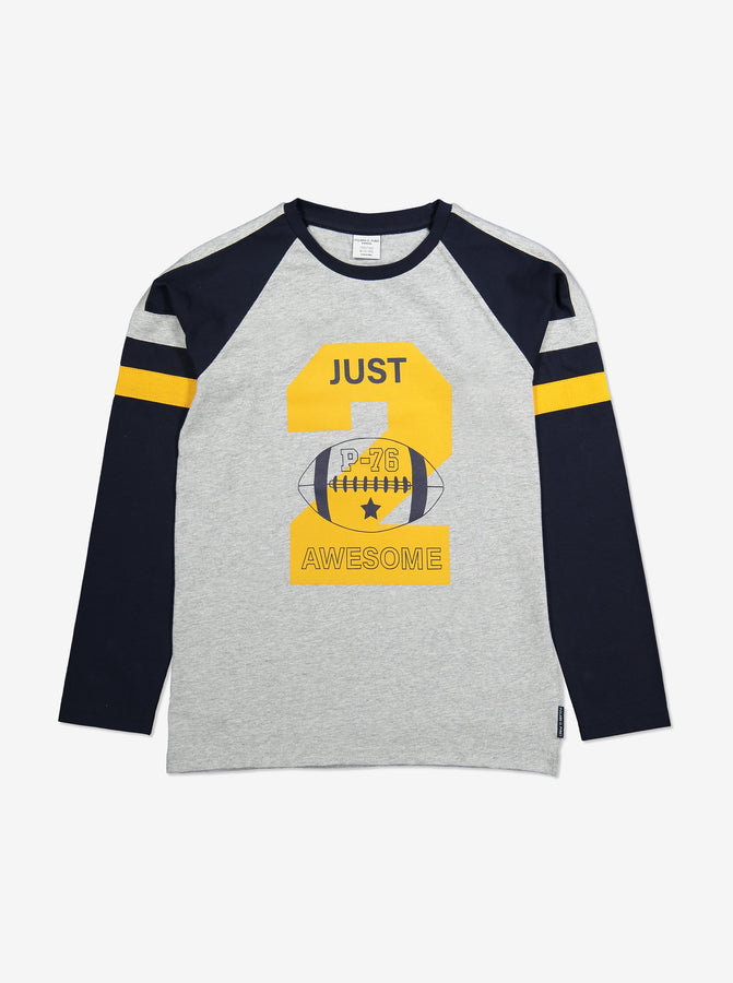 Slogan Kids Top-Unisex-6-12y-Grey