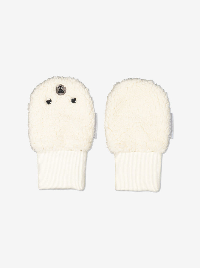 Teddy Fleece Baby Mittens-0-6m-Natural-Unisex