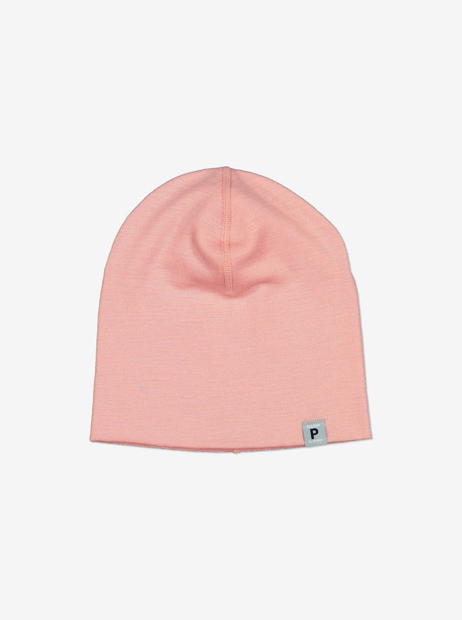 Merino Wool Kids Beanie Hat-4m-12y-Pink-Girl