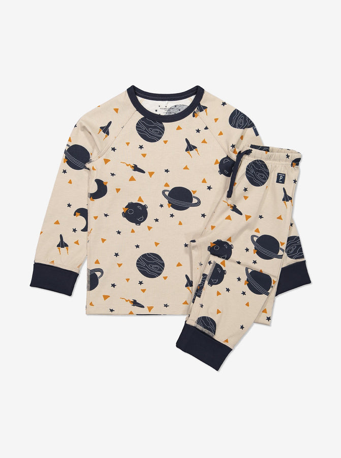 Boys Brown Kids Gots Organic Space Pyjamas
