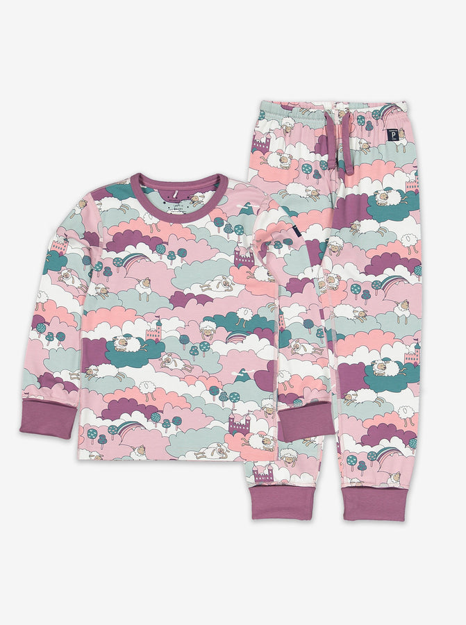 Girls Purple Sleepy Sheep Kids Pyjamas 1-8y