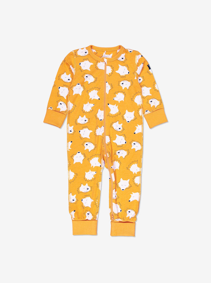 Boys Yellow Fox Print Kids Onesie Pyjamas 0-4y