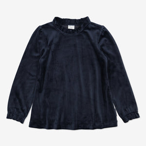 Girls Navy Velour Kids Top 1-6y