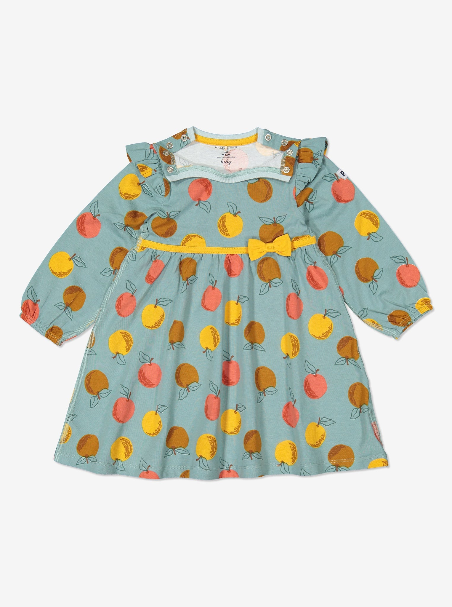 Girls Blue Apple Print Baby Dress 0-1y