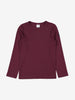 Front view of kids burgundy red top in soft organic cotton