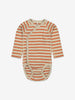 Unisex Red Striped Wraparound Baby Bodysuit 0-1y