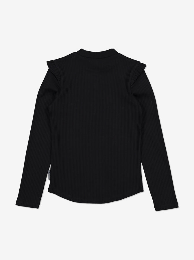 Girls Black Ribbed Kids Top 6-12y