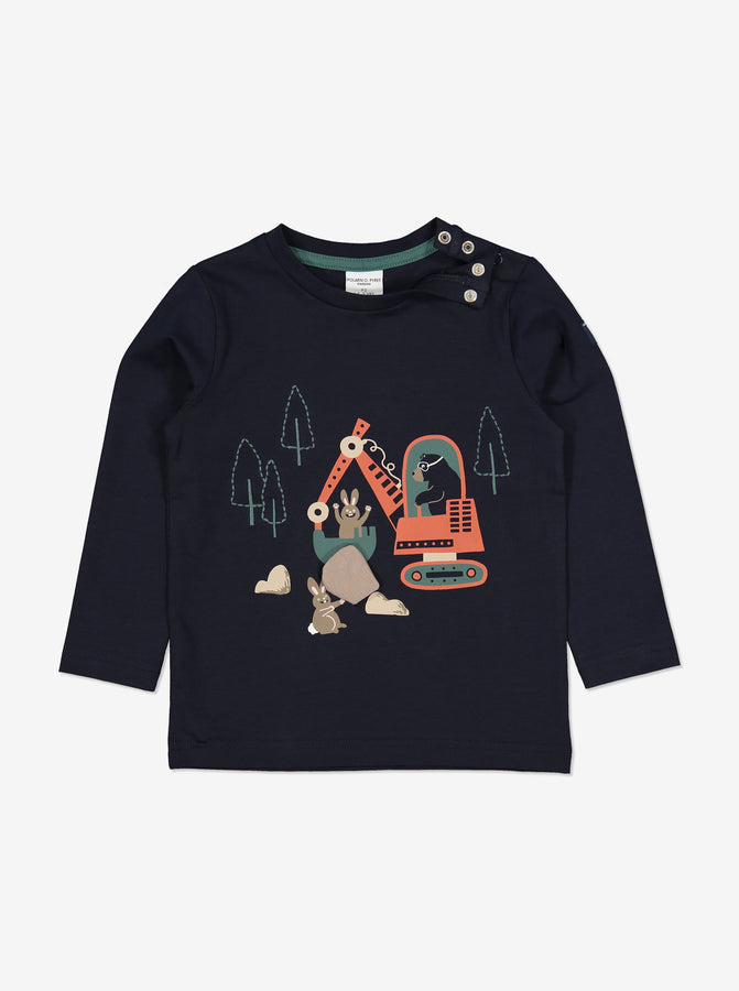 Boys Navy Digger Bear Kids Top 1-6y