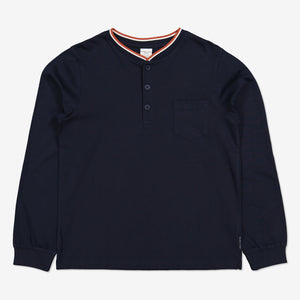 Boys Navy Henley Kids Top 6-12y