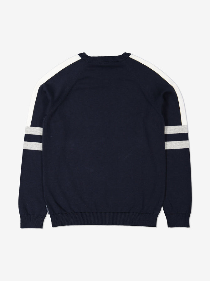 Boys Navy Block Colour Kids Jumper 6-12y