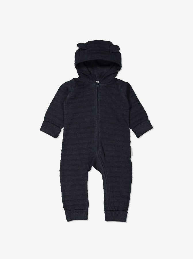 Newborn Baby Organic Cotton Navy Blue All-in-one