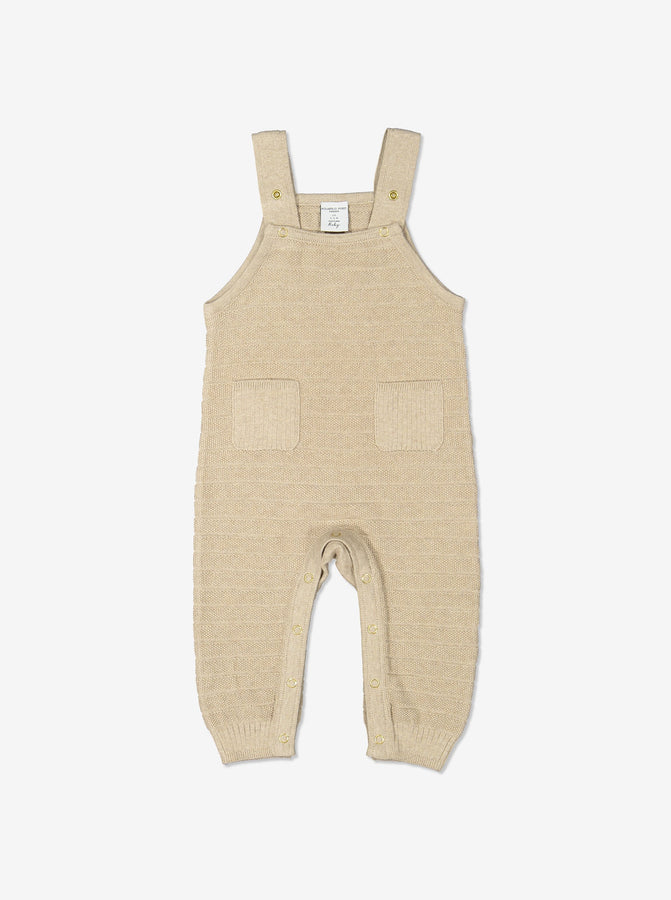 Newborn Baby Soft Cotton Beige Dungarees