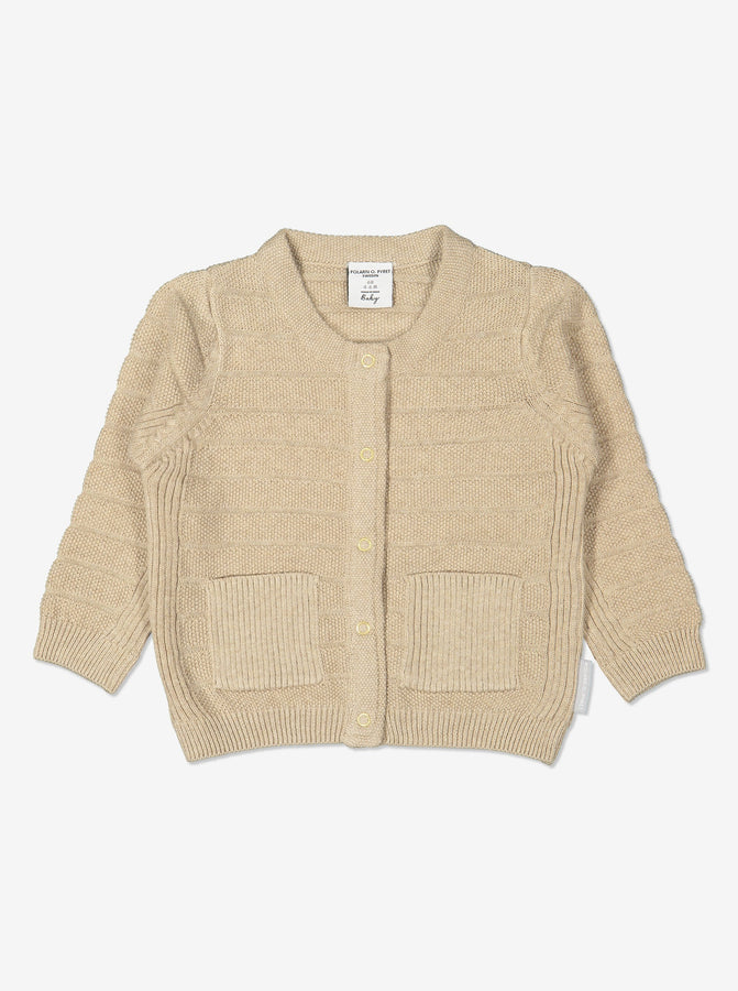 Unisex Beige Baby Cardigan in 100% organic cotton.  In a textured knit with front popper fastening and two small patch pockets.