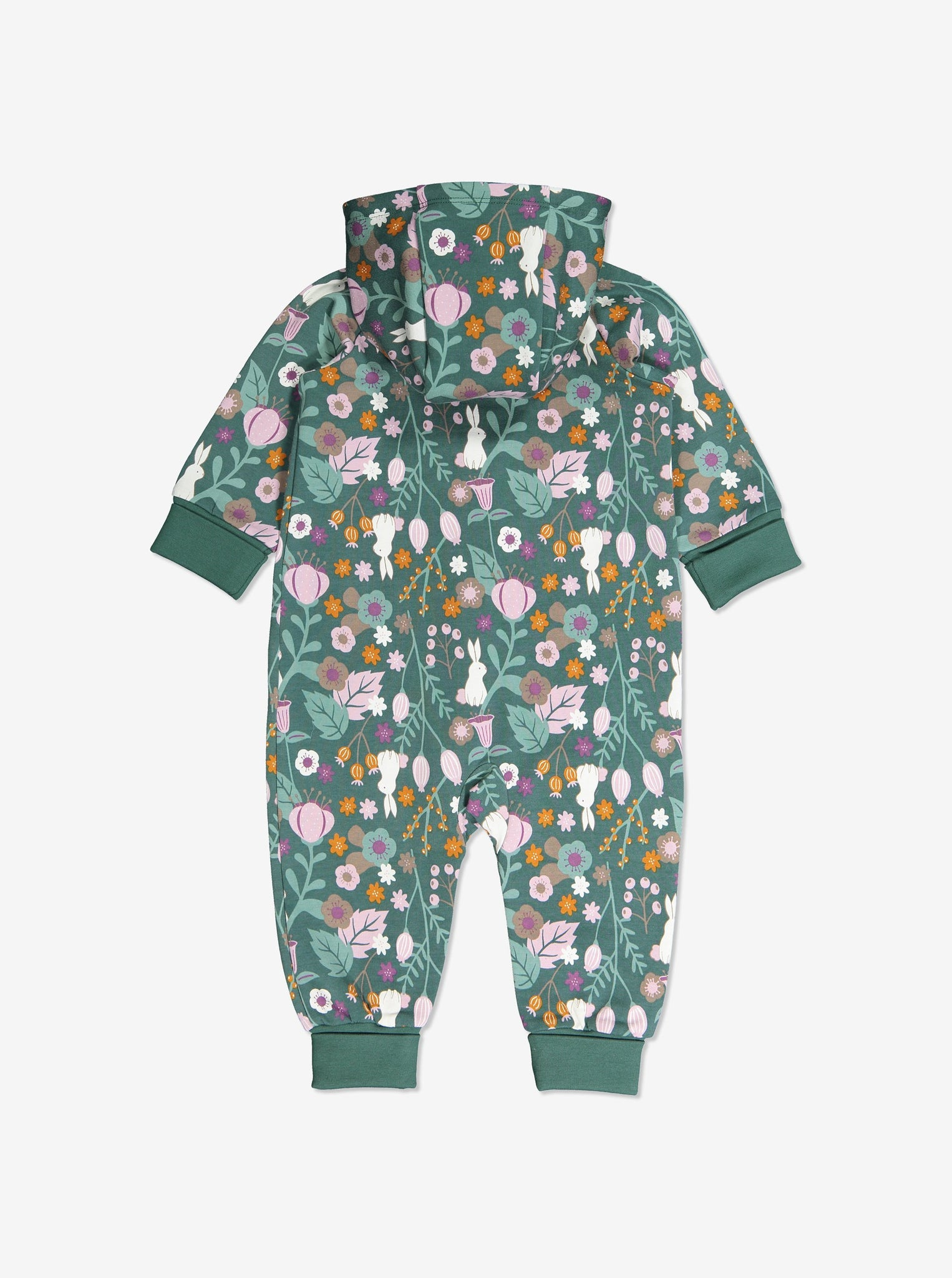 Back view of newborn baby onsie with Woodland print of flowers and bunnies in GOTS organic cotton. With cosy lined hood and full-length zip for speedy dressing and foldable ribbed cuffs for growing room