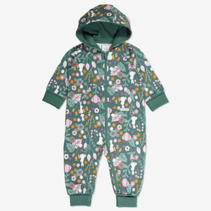 Newborn baby onsie with Woodland print of flowers and bunnies in GOTS organic cotton. With cosy lined hood and full-length zip for speedy dressing and foldable ribbed cuffs for growing room.