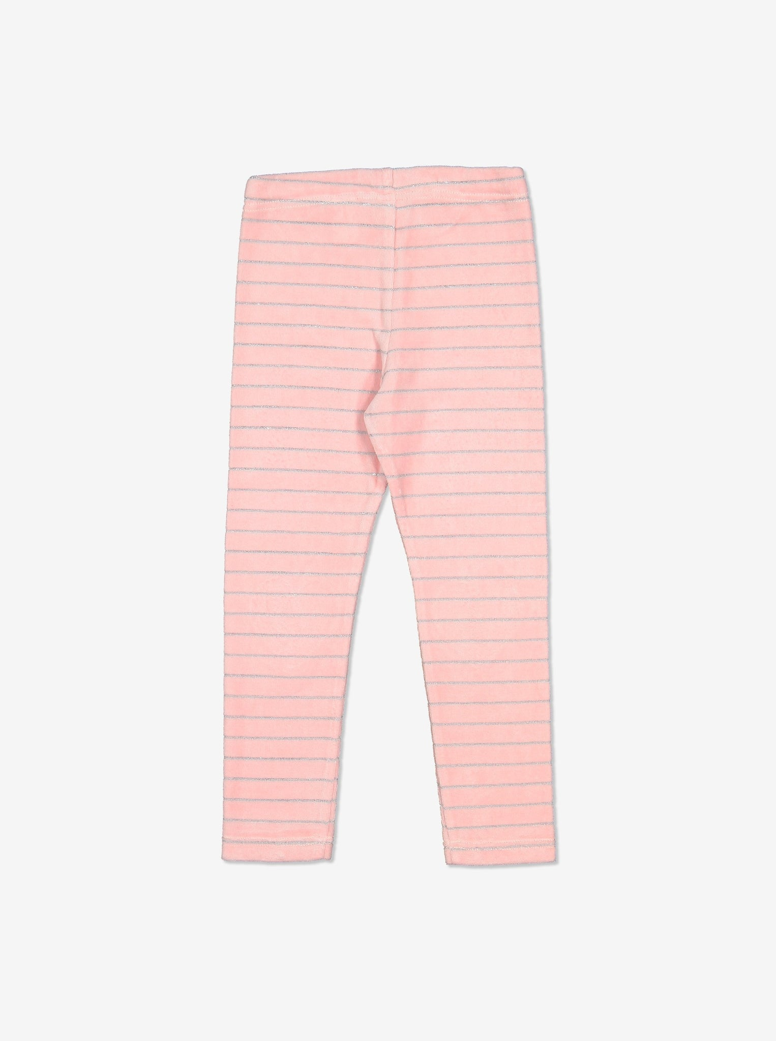 Girls Pink Glitter Stripe Kids velour leggings 1-6y