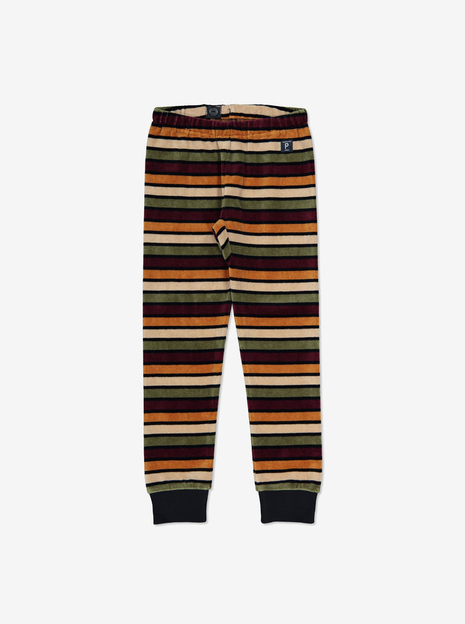 Unisex Navy Striped Velour Kids Trousers 1-8y