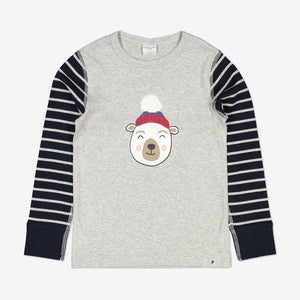Kids Polar Bear Top 1-8years Navy Boy