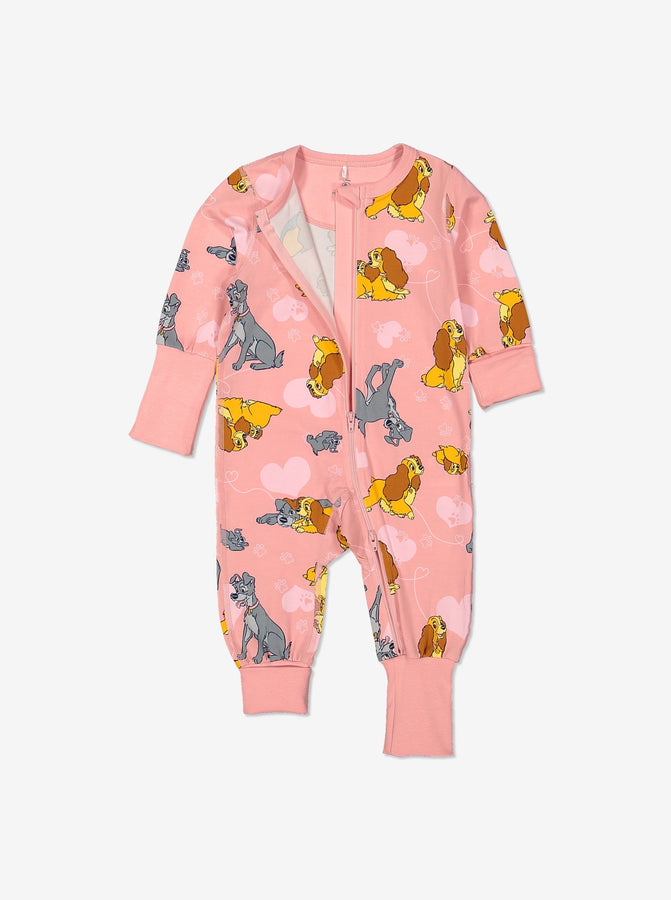 Kids Organic Cotton Lady & The Tramp Onesie 0-4years Pink Girl