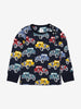 Kids Car Print Top 1-6years Navy Unisex