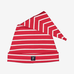 Kids Striped Christmas Hat S-L Red Unisex