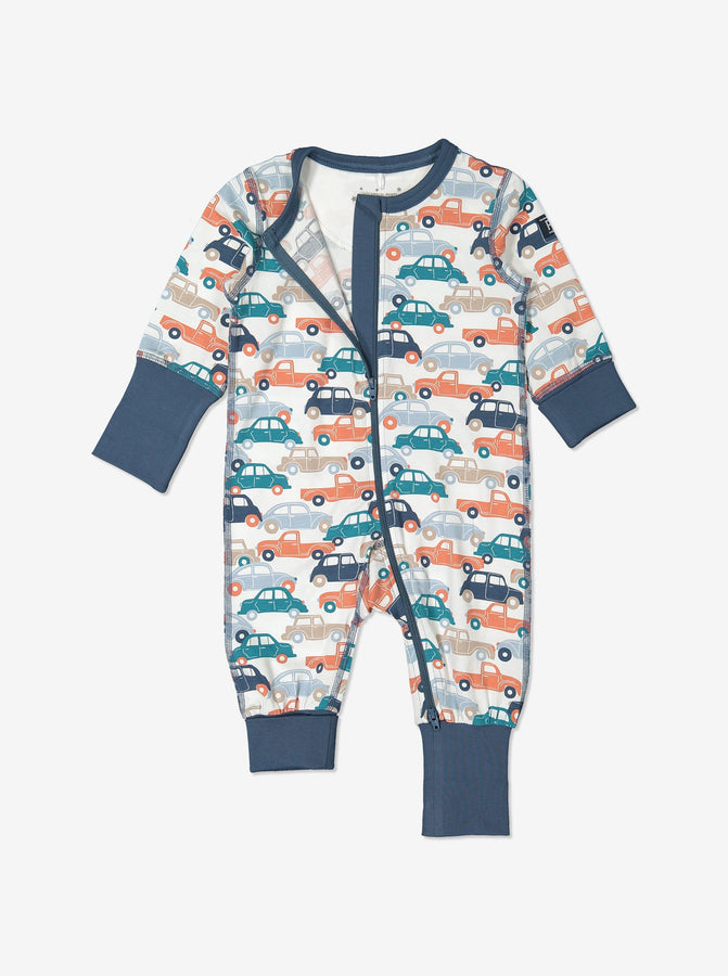 Newborn Baby Blue Car Print Onesie Pyjamas