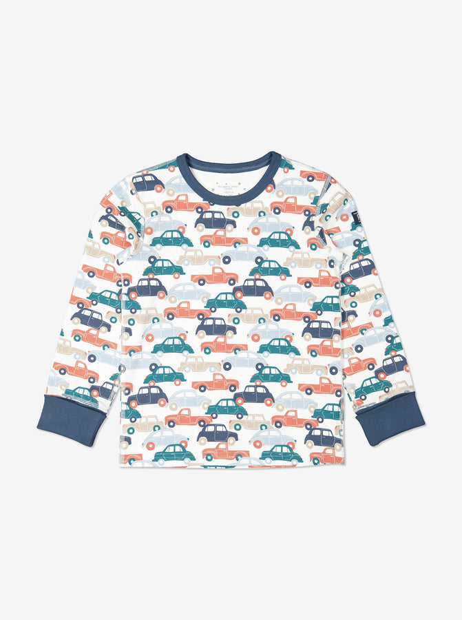Boys Organic Cotton Car Print Blue Pyjamas