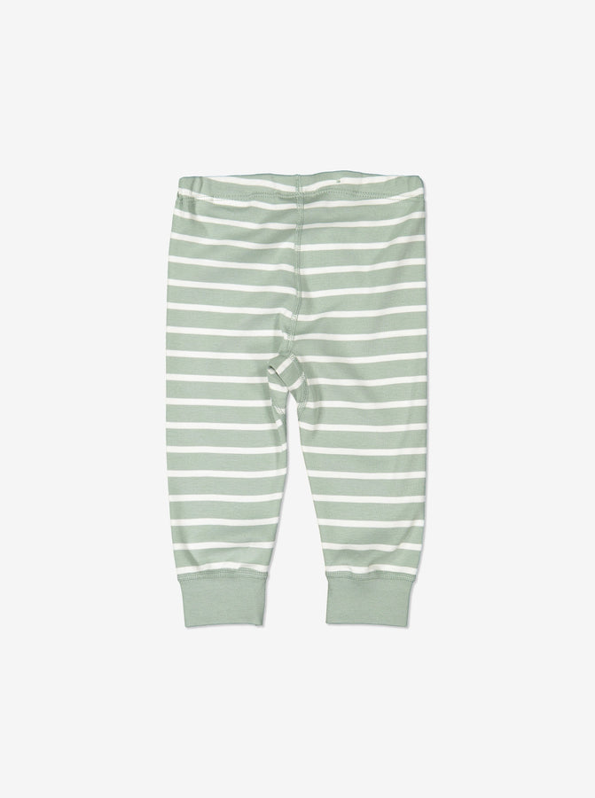 Striped Baby GOTS Organic Green Leggings