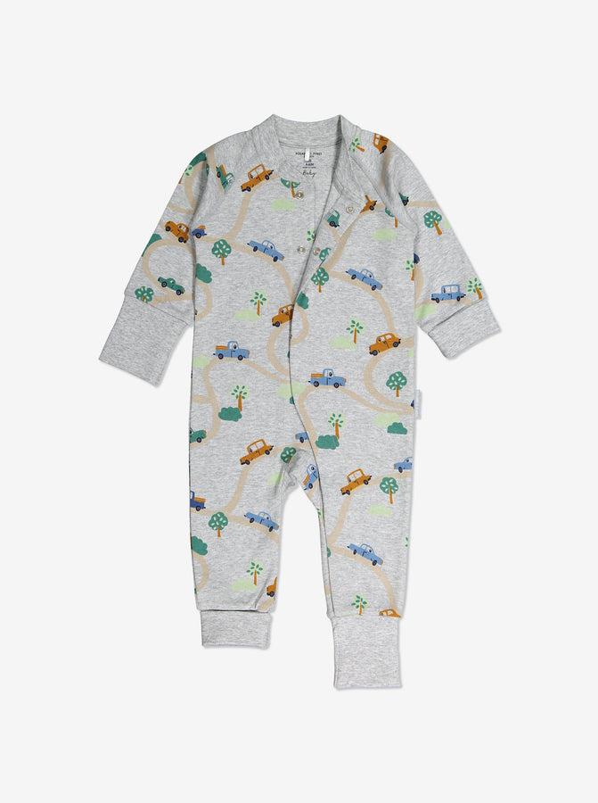 Newborn Baby Car Print Grey All-In-One
