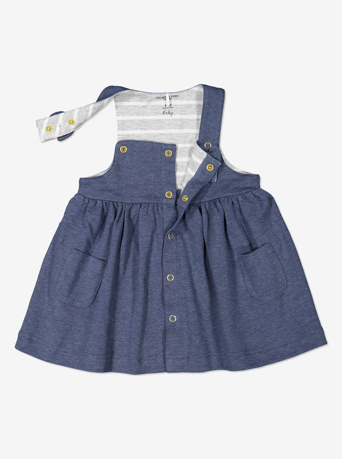 Newborn Baby Girls Blue Organic Cotton Pinafore Dress