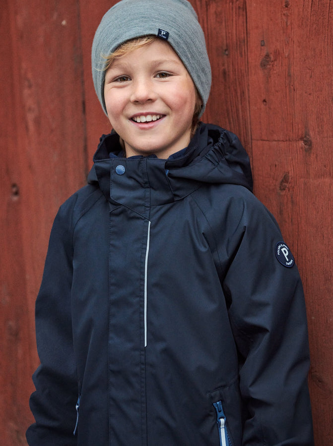 Boy wear 100% waterproof kids coat in navy accessories with grey merino beanie hat