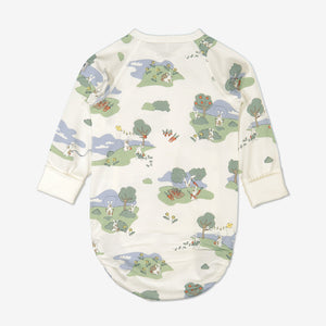 Back view of bunny print babygrow for newborn babies in a wraparound style, made from 100% organic cotton fabric
