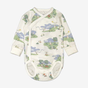 Bunny print babygrow for newborn babies in a wraparound style, made from 100% organic cotton fabric