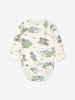 Unisex bunny print babygrow for babies with long sleeves, made from GOTS organic cotton fabric