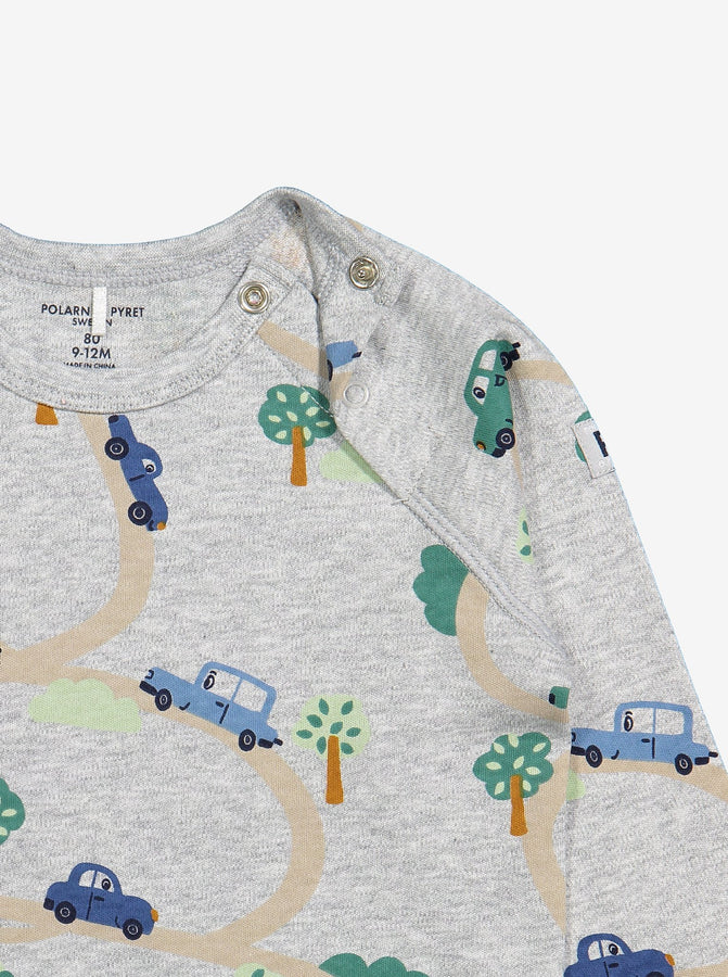 Baby Car Print Organic Grey Top