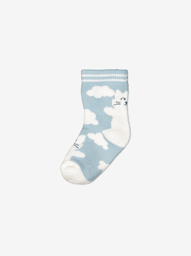 Cat Print Newborn Baby Soft Cotton Blue Socks