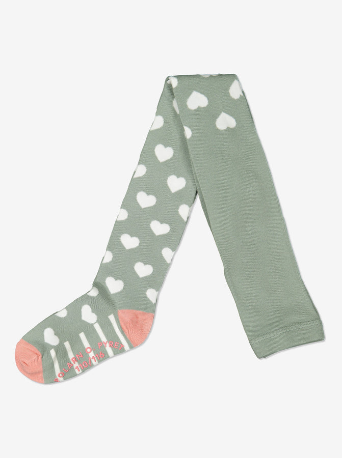 Girls Heart Print Green Tights