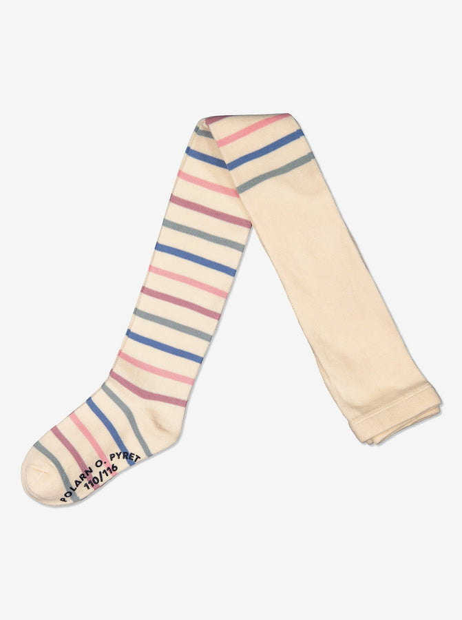 Girls Soft Striped White Tights