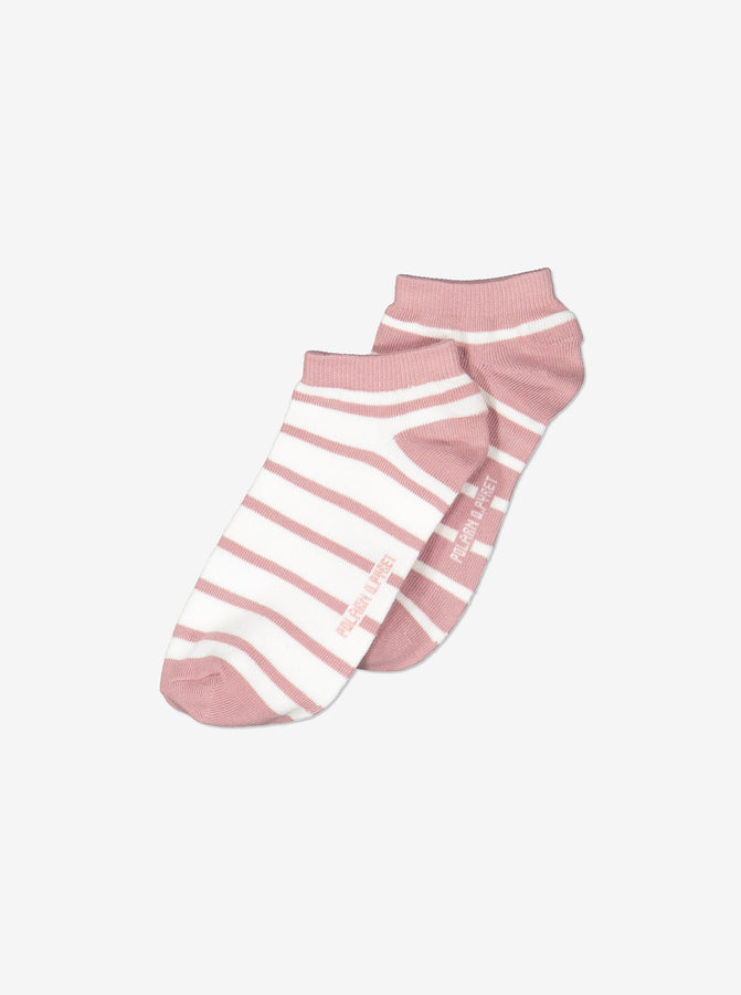 2 Pack Girls Striped Pink Ankle Socks