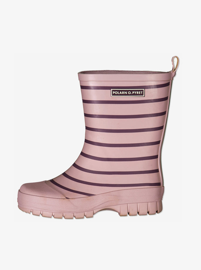 Kids Pink Striped Wellies