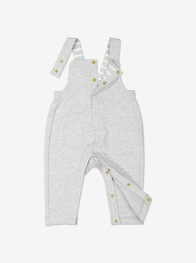 Newborn Baby Grey Cotton Dungarees