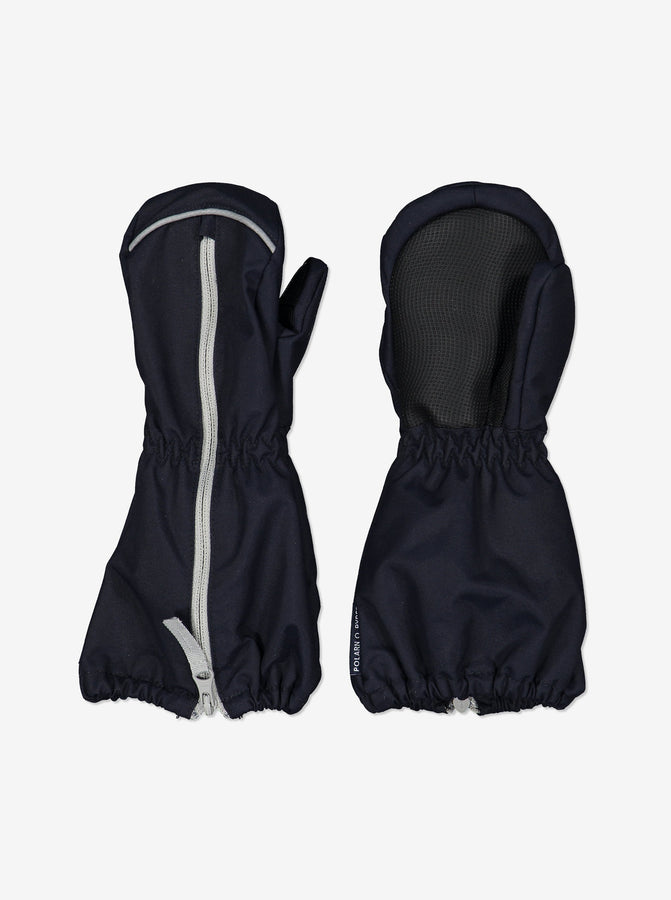 Kids Navy Waterproof Shell Mittens