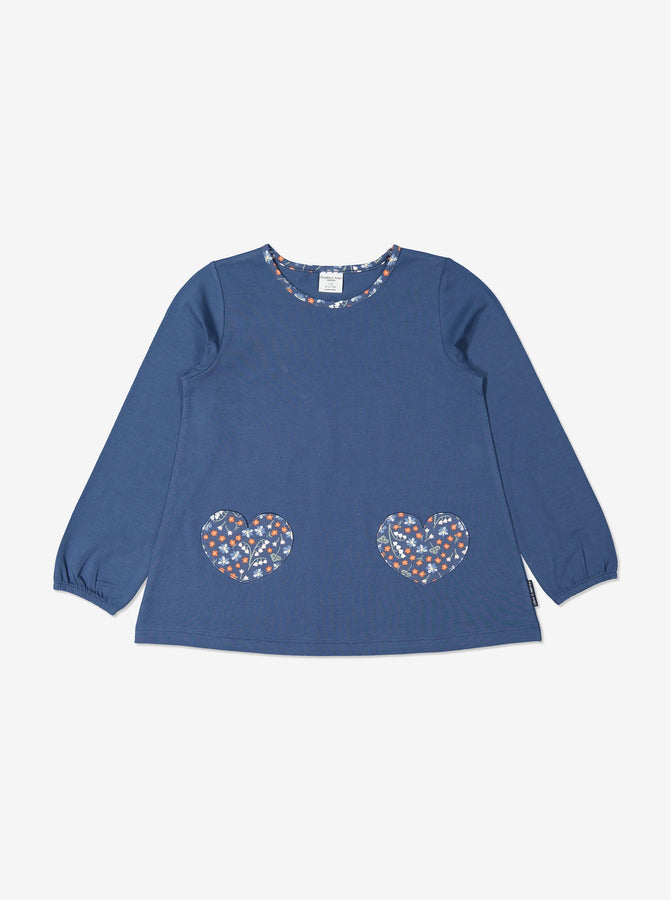 Girls Blue Organic Cotton Kids Floral Top
