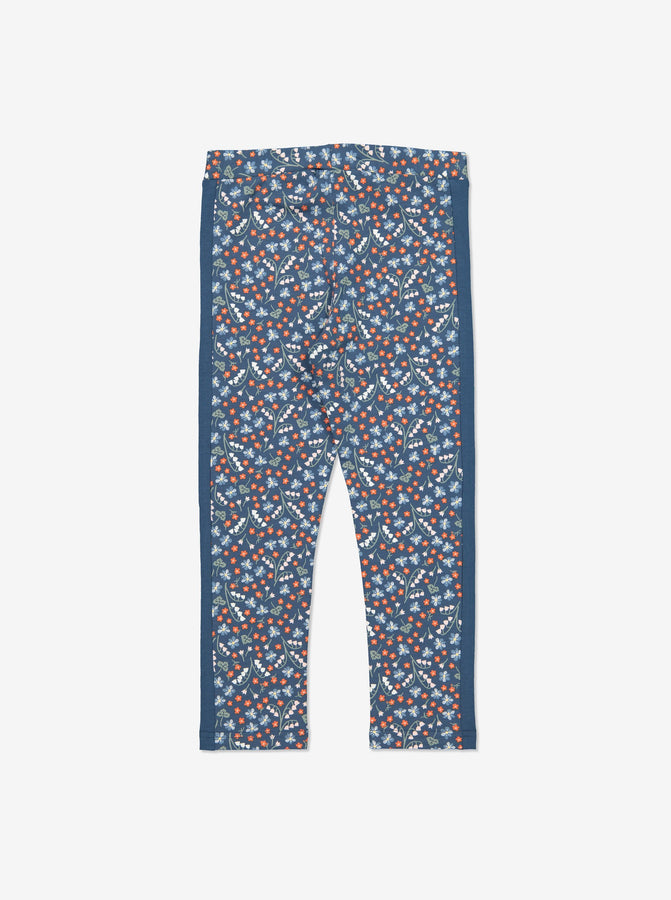 Girls Blue Kids Floral Print Organic Leggings